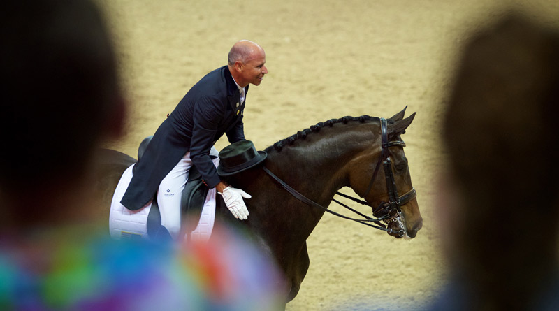 Steffen Peters, pictured on Legolas, at the FEI World Cup Dressage Final in Las Vegas in 2015.