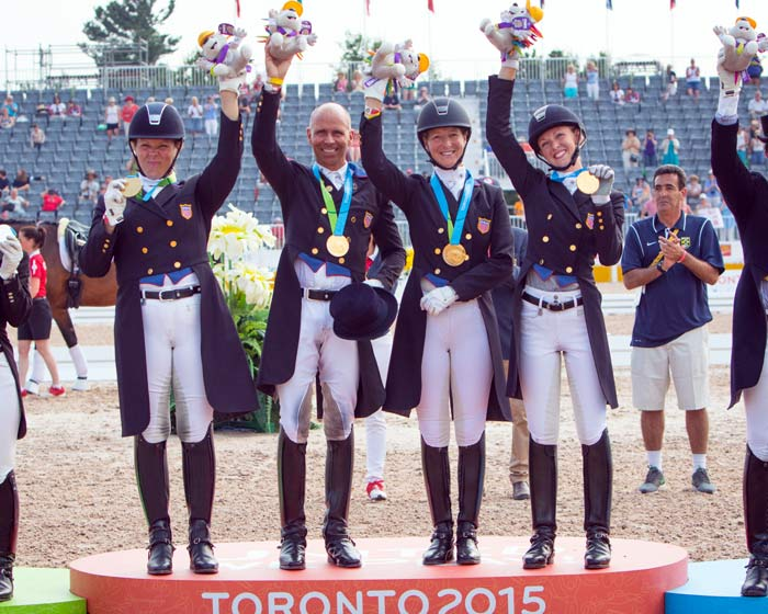 The US Gold Medal Team at the 2015 Pan American Games, from left, Kimberley Herslow, Steffen Peters, Sabine Schut-Kery and Laura Graves.