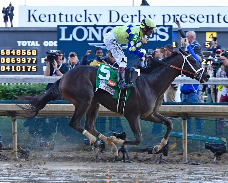Always Dreaming gallops to the line in the Kentucky Derby last weekend.