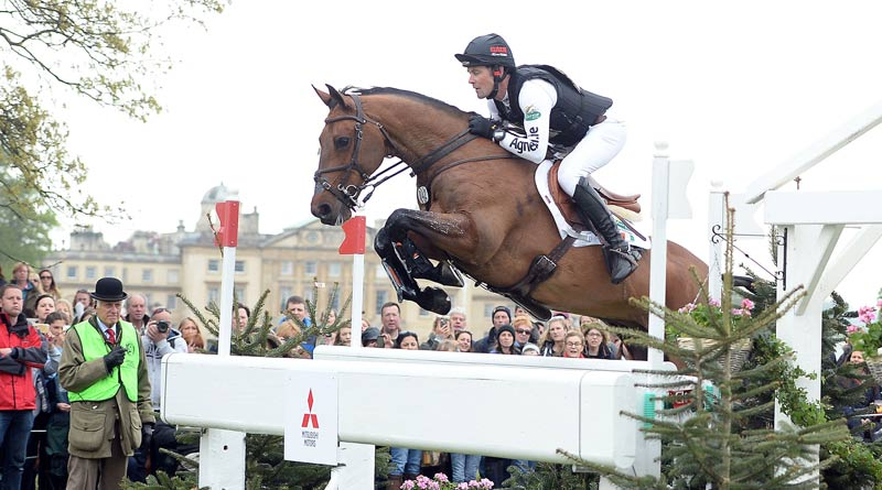 Joseph Murphy and Sportsfield Othello jump the Offset Oxer at Badminton. Murphy was the best placed Irish rider, in 13th.