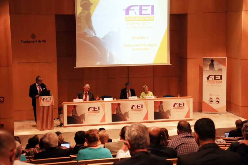 FEI Endurance Director Manuel Bandeira de Mello speaks at the 2017 FEI Endurance Forum, with panellists, from left, FEI Endurance Committee chairman Brian Sheahan, event organizer, athlete and trainer Stephane Chazel, and elite athlete Valerie Kanavy.