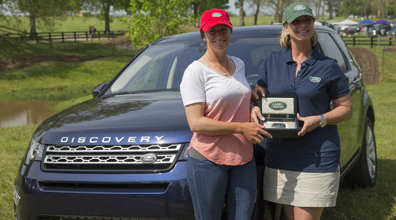 Erin Sylvester was presented with a 2017 Land Rover Discovery Sport 24-month lease by Helen McDonald, Events and Partnerships Manager, Jaguar Land Rover NA LLC.