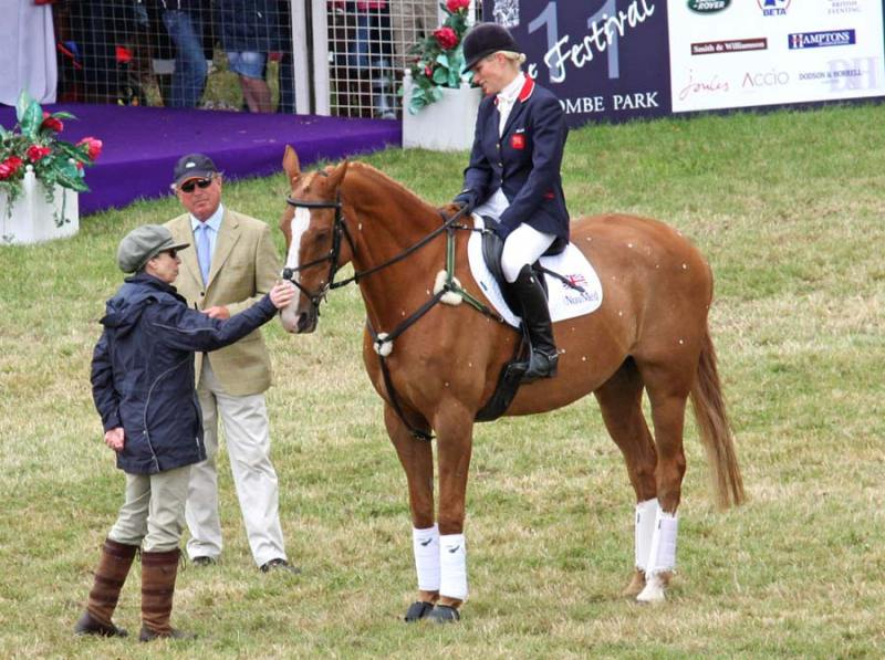 Toytown in his official retirement ceremony at Gatcombe in 2011, with Zara Tindall in the saddle, and her parents, Mark Phillips and Princess Anne.