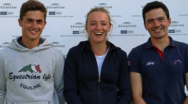 CCI*** u25 dressage leaders, from left Aurelian Leroy (FRA) second; Emily King (GBR) third; and Thibault Fournier (FRA), in the lead.