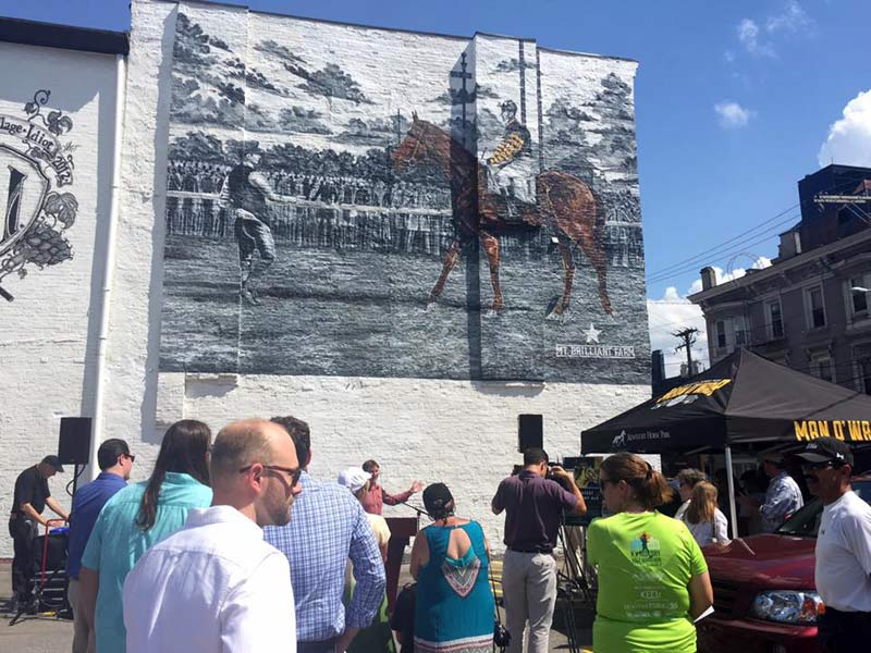 The Man o' War mural was unveiled in Lexington on June 29.