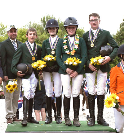 Ireland's 2017 European Pony Championships team jumping winners, from left, Gary Marshall (team manager), Harry Allen, Abbie Sweetnam, Kate Derwin and Ciaran Nallon.