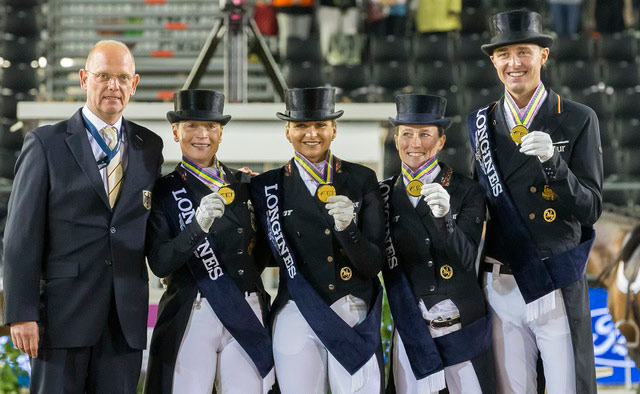 Chef d'Equipe Klaus Roeser with the gold medal winning German Dressage team: Isabell Werth, Dorothee Schneider, Helen Langehanenberg and Sonke Rothenberger after winning the Longines FEI European Championships 2017 in Gothenburg, Sweden.