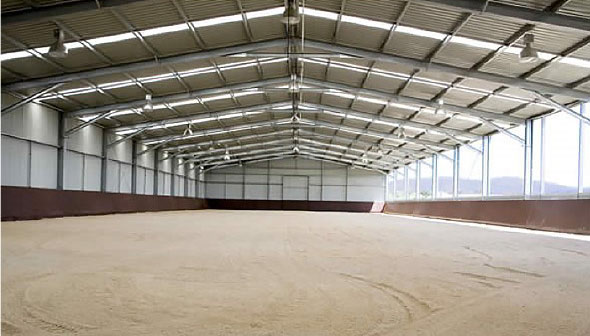 Bandanora has a 66m x 25m indoor arena.