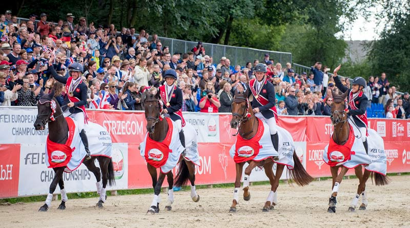 The victorious British team at the FEI European Eventing Championships at Strzegom in Poland, from left, Nicola Wilson (also individual bronze), Ros Canter, Oliver Townend and Kristina Cook.