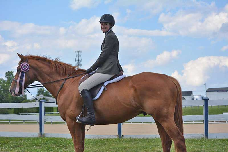 Brenna Tento with Joe: She enjoys the versatility of the Thoroughbred.