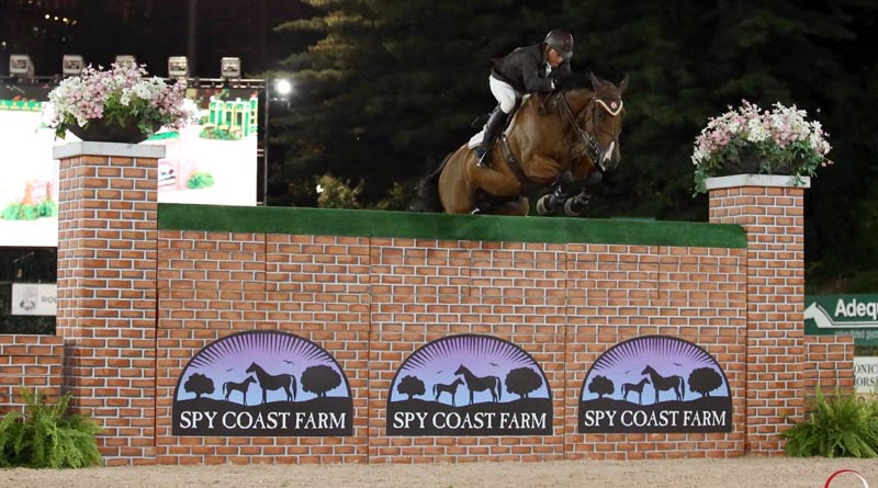 "Todd Minikus riding eight-year-old VDL Excel clears the 6' 9"" Puissance wall to share a three-way-victory tie at the Rolex Central Park Horse Show in New York City."