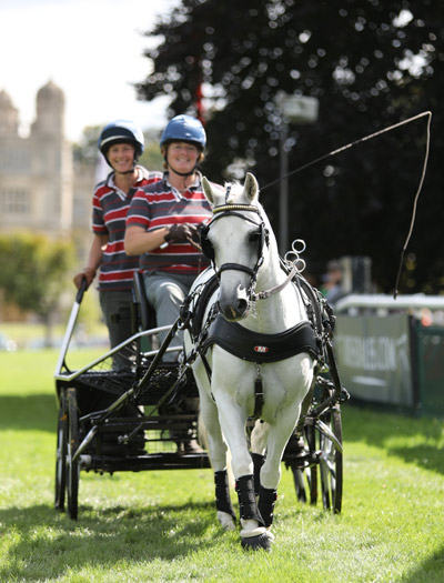 World Horse Welfare Yogi with Liz Harcombe and Amy Last at Burghley.