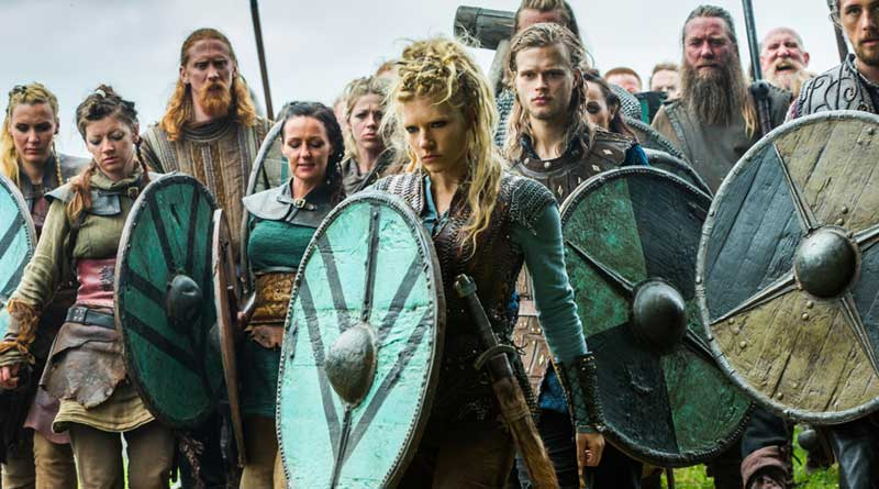 Shieldmaiden Lagertha, center, is played by Katheryn Winnick in the hit TV series Vikings.