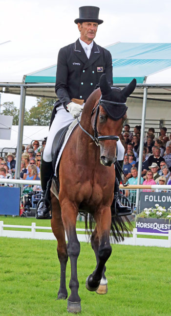 Burghley dressage leaders Mark Todd and Leonidas II.