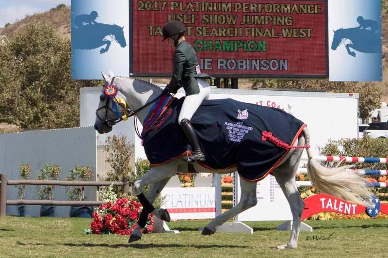 Halie Robinson and Caracas winning USEF Talent Search Finals West.