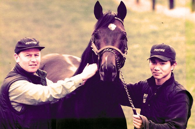 John Thompson with Pentire and Japanese groom Naoki Sakota soon after the stallion's arrival at Rich Hill Stud.