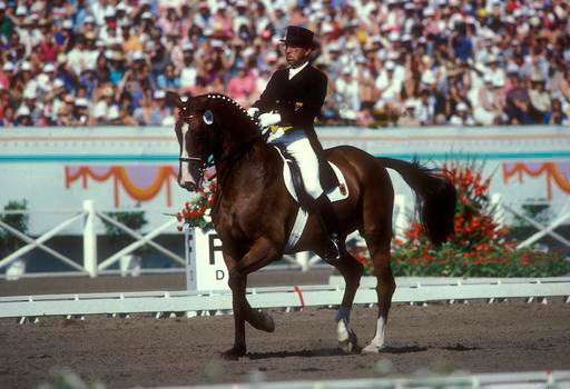 Reiner Klimke and Ahlerich, individual and team gold medalists at the 1984 Olympic Games.