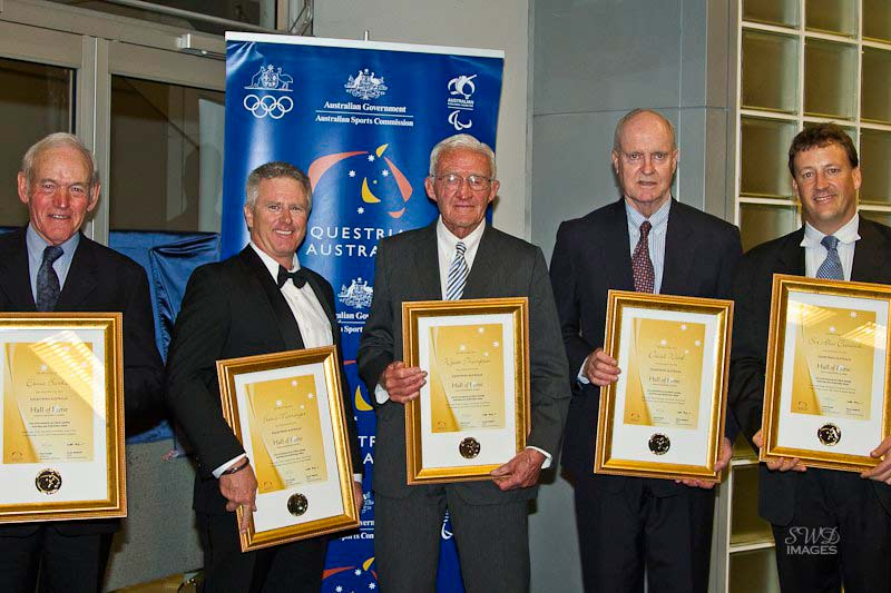 "Accepting the Hall of Fame awards are, from left, Graeme Barker (son of Ernie Barker), David Mairinger (grandson of Franz Mairinger), Wyatt ""Bunty"" Thompson, Chris Wood (son of David Wood) and Charles Creswick (grandson of Alex Creswick)."