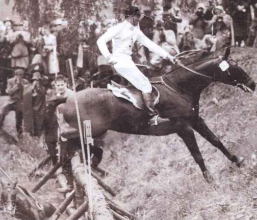 "Wyatt ""Bunty"" Thompson and Brown Sugar at the 1956 Olympic Games, the equestrian events of which were held in Sweden."