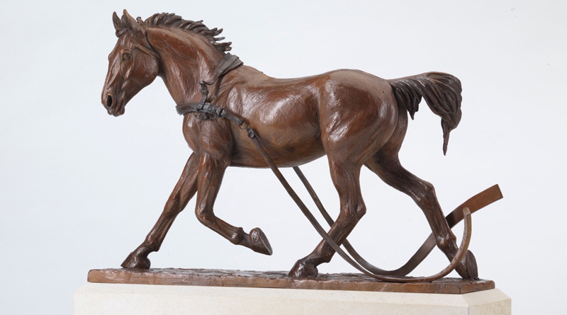 A bronze Maquette of the Free Spirit Horse memorial sculpture, by Georgie Welch.
