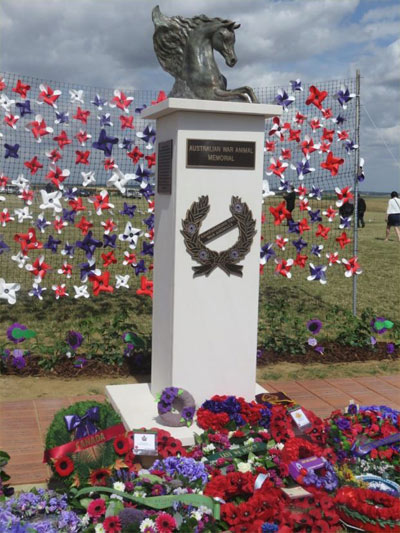 """Emerging Spirit"", which was unveiled in France last year. The wreaths are from Australian horse breed associations, schools, and VIPs from various nations."