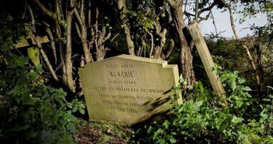 Blackie's grave and headstone before its Historic England designation.