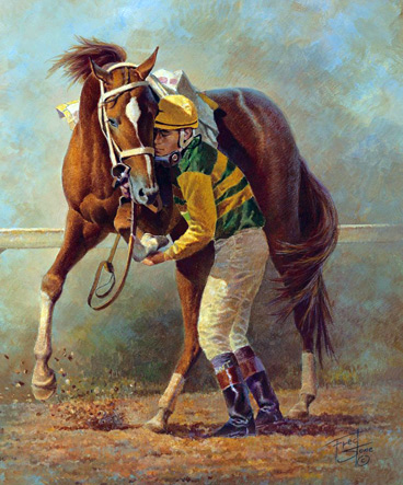 "Stone said Charismatic, the 1999 Kentucky Derby and Preakness winner, ""will forever be in my memory. I cannot forget the Belmont when jockey Chris Antley pulled him up before the finish line and cradled the injured leg in his hands, probably saving his life. This is one of my most cherished paintings as I was so deeply moved by the event."""