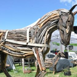 Roderick Hall and his driftwood horse at the Southern Field Days.