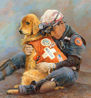 Painted by Fred Stone after 9-11, Partners is one of the most popular posters in history. It raised $500,000 for the families of firefighters who died that day.