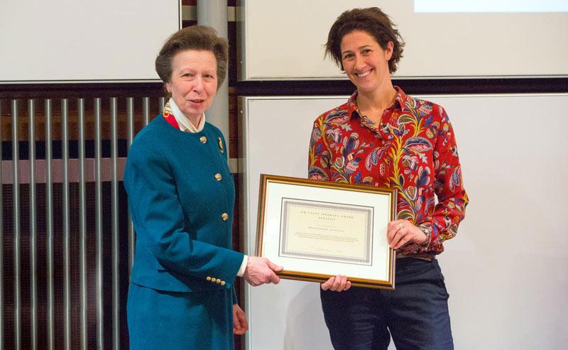 The Princess Royal presented a framed certificate toBritish Grooms AssociationExecutive DirectorLucy Katan.