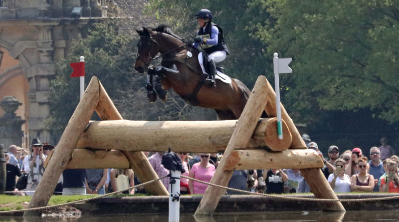 Rosalind Canter and Allstar B put in a mighty leap. © Mike Bain