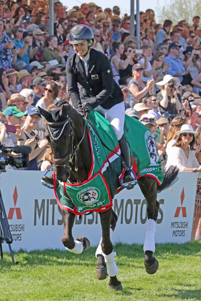 Jonelle Price and Classic Moet on their victory lap after winning the Badminton Horse Trials in Britain