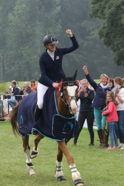 Mary King celebrates with her daughter, Emily, after she won the BramhamUnder 25 CCI3* on Dargun.