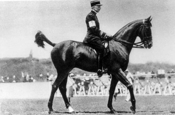 Xavier F Lesage from France, rode Taine to Olympic dressage gold in the 1932 Games in Los Angeles.