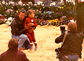 William Shatner at the Hollywood Charity Horse Show several years ago with a little girl who was able to take her first steps as a result of Ahead With Horses.