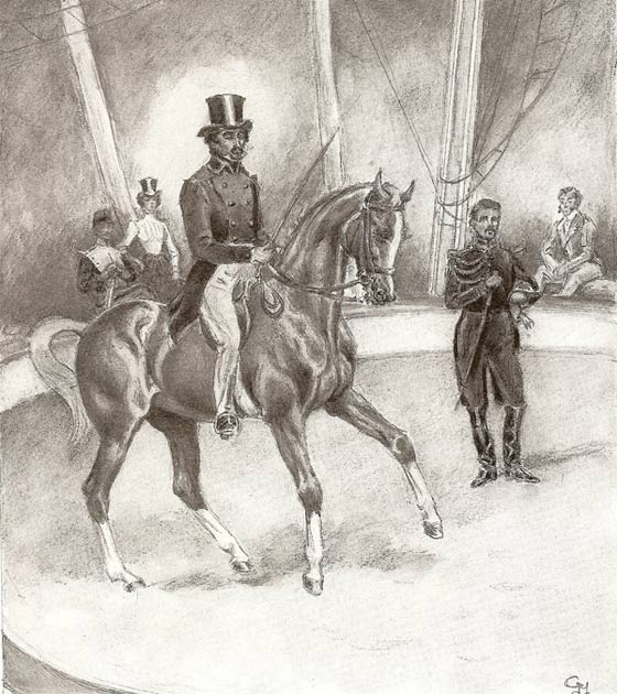 Baucher working his horse Capitaine at the Franconi circus in front of Commandant de Novital, with (left to right) L'Hotte, Caroline Loya and Franconi looking on. Gouache and crayon drawing by Commandant Margot.
