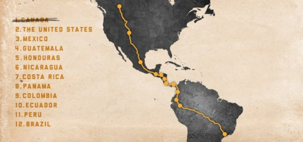 A map of Filipe's route from Canada to Brazil.