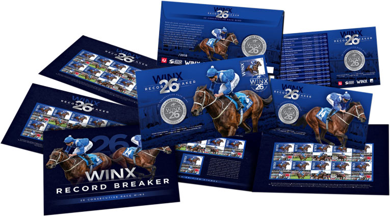 Australia Post's Winx release includesa first day cover, maxicard and sheetlet pack, as well asaspecial 26-win stamp packand amedallion cover.