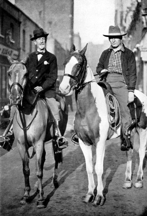 Robert Cunninghame Graham (left) was a close personal friend of Aimé Tschiffely (right). They are seen riding together in London. Both Long Riders entrusted their literary estates to Lady Polworth.