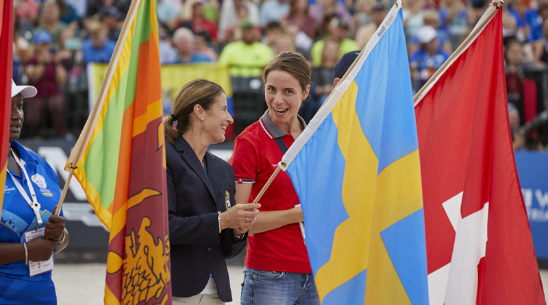 Swedish dressage rider Tinne Vilhemson- Silfvén and Swiss eventerPatricia Attinger at the Opening Ceremony for the FEI World Equestrian Games.