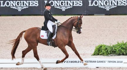 Isabell Werth and Bella Rose winning the Grand Prix special at the 2018 World Equestrian Games.