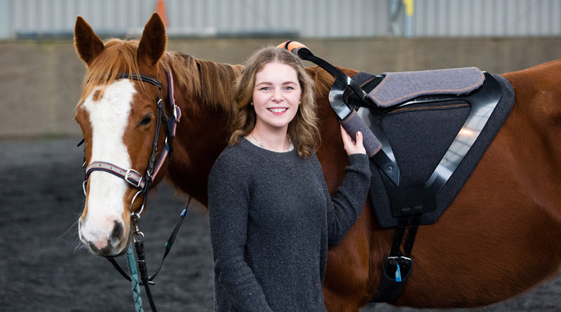 Holly Wright with her award-winning Contak saddle.