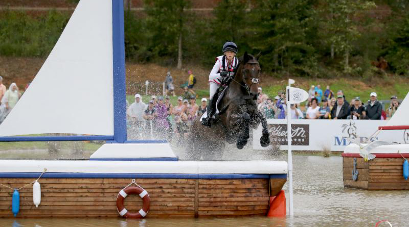 Ros Canter and Allstar B on the cross-country at the World Equestrian Games. The pair won the individual eventing title, and team gold.