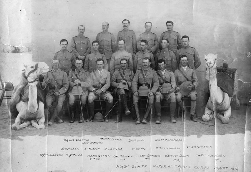 Headquarters staff at the Imperial Camel Corps in Egypt in 1916.