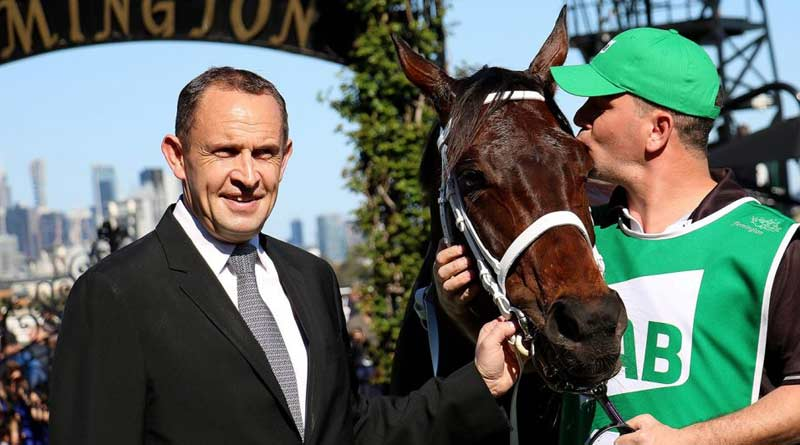 Chris Waller with his star mare Winx. © Chris Waller Racing