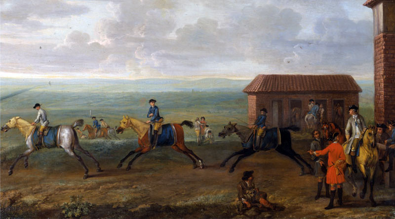 Lord Portmore watching racehorses at exercise on Newmarket Heath, by John Wootton (c.-1753).