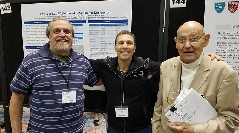 "Pioneers in ""The Ketamine Journey"" Ed Domino, MD, (right) wrote the first paper describing ketamine's anesthetic properties in humans (1965). Dennis Charney, MD (left) was a senior author on the first paper reporting ketamine's effectiveness for depression (2000). David Feifel, MD, PhD, (center) launched the first program using IV ketamine infusions to treat patients for depression (2008)."