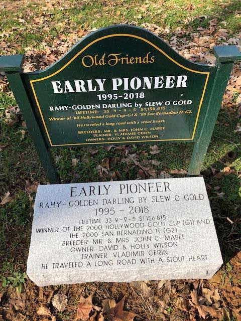 Early Pioneer's grave marker at Old Friends is the first to be made permanent by the Kentucky Monument company.