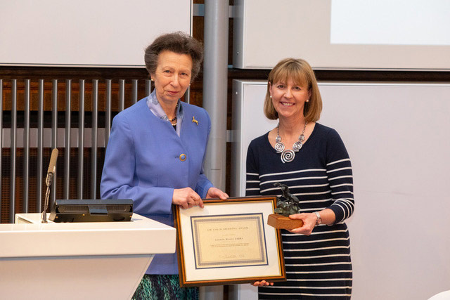 Boo Powe receives theSir Colin Spedding Award from the HRH The Princess Royal on behalf of her father,Gordon Wesley, who was not able to attend the forum.
