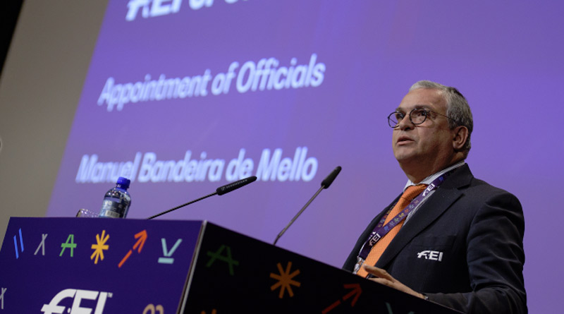 FEI Director Endurance Manuel Bandeira de Mello during the Endurance session on Educating Officials and correct application of the rules at the FEI Sports Forum.